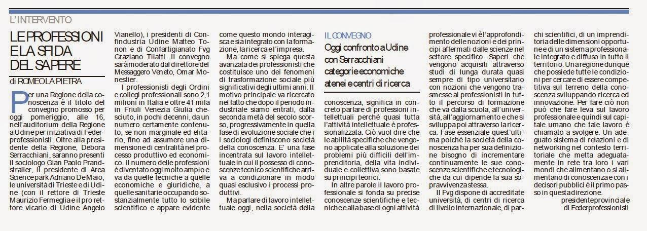 MESSAGGERO VENETO 16/09/2014